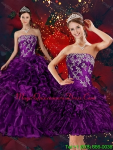 Modern 2015 Strapless Quinceanera Dress with Embroidery and Ruffles
