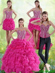 Modern Hot Pink Sweetheart Quinceanera Gown with Beading and Ruffles