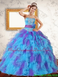 Modern Ruffles and Appliques 2015 Strapless Quinceanera Dress in Multi Color