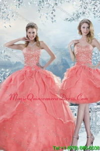 2015 Detachable Beading Quinceanera Dresses in Watermelon