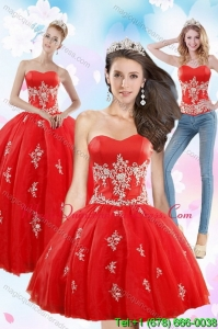 2015 Detachable Strapless Red Quince Dresses With Appliques