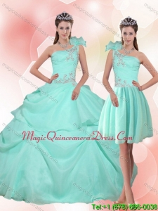 2015 Modern Apple Green Quinceanera Dress with Appliques