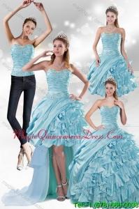 2015 Modern Aqua Blue Quiceanera Dresses in Taffeta