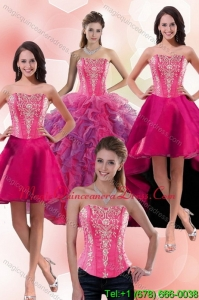 2015 Modern Multi Color Sweet 16 Dresses with Appliques and Ruffles