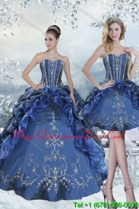 Detachable 2015 Embroidery and Beading Blue Quince Dresses for 2015