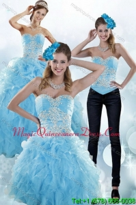 Detachable Baby Blue Sweetheart 2015 Sweet 15 Dresses with Appliques and Ruffles