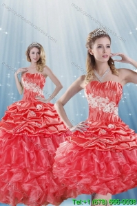Detachable Watermelon Red Quince Dresses with Appliques and Ruffles