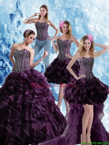 Modern Burgundy Sweetheart Quince Dress with Ruffles and Beading