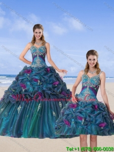 Modern Multi Color 2015 Quinceanera Gown with Hand Made Flower and Pick Ups