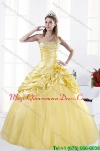 Modern Strapless Beading Yellow Quinceanera Dresses for 2015
