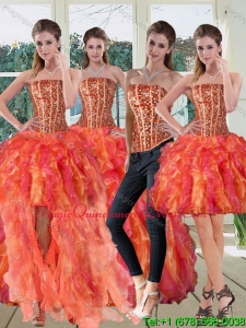 Modern Strapless Multi Color Dress for Quinceanera with Beading and Ruffles