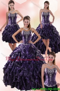 Modern Sweetheart Ball Gown Purple Quince Dresses with Embroidery