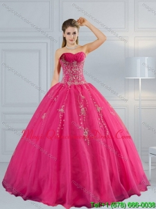 2015 Fashionable Sweetheart Hot Pink Quinceanera Dress with Appliques and Beading