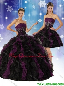 2015 Romantic Strapless Multi Color Quinceanera Dress with Ruffles and Embroidery