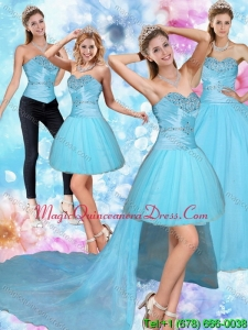 Fashionable 2015 Sweetheart Baby Blue Quinceanera Dress with Beading