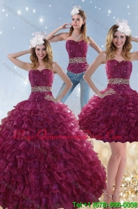 Fashionable Burgundy Sweet 15 Dresses with Beading and Ruffles