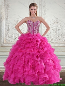 Fashionable Sweetheart Hot Pink 2015 Quinceanera Gown with Beading and Ruffles