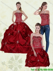 Fashionable Wine Red Strapless Quinceanera Gown with Embroidery