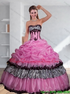Fashionable Zebra Printed Strapless Quinceanera Dress with Pick Ups and Embroidery