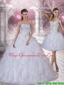 Romantic 2015 Sweetheart White Quinceanera Dress with Ruffles and Beading
