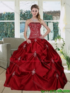 Wine Red Romantic Strapless 2015 Quinceanera Gown with Embroidery and Pick Ups