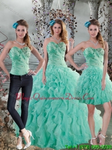 2015 Fashionable Aqua Blue Quinceanera Dresses with Beading and Ruffles