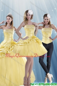 Fashionable Strapless 2015 Strapless Beading Quinceanera Dresses