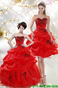 Fashionable Strapless Red Quinceanera Dresses with Appliques and Pick Ups for 2015