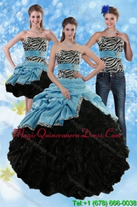 Fashionable Zebra Print Strapless Multi Color Sweet 15 Dresses with Ruffles and Pick Ups
