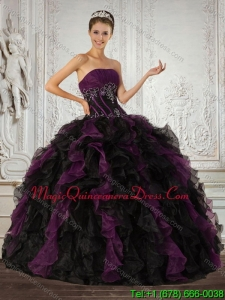 Hot Sale 2015 Strapless Multi Color Quinceanera Dress with Ruffles and Embroidery