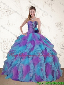 Hot Sale Strapless Beading and Ruffles Multi Color Sweet 15 Dress