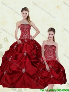 Hot Sale Wine Red Strapless Quinceanera Gown with Embroidery and Pick Ups