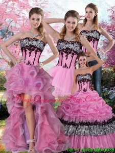 Hot Sale Zebra Printed Multi Color Quinceanera Dress with Pick Ups and Appliques
