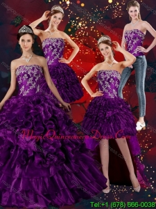 Luxurious Strapless Ball Gown Quinceanera Dress with Embroidery and Ruffles