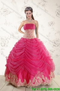 Romantic 2015 Strapless Hot Pink Quinceanera Dresses with Beading and Lace