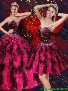 Romantic Multi Color Sweetheart Quince Dresses with Beading and Ruffles
