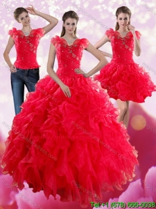 Romantic Red Sweetheart Quince Dresses with Ruffles and Beading for 2015