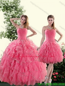 Romantic Strapless Paillette Quince Dresses in Rose Pink for 2015