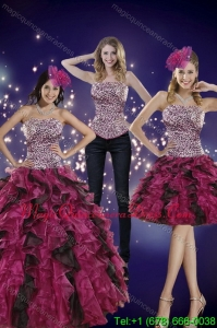 2015 Hot Sale Strapless Multi Color Quinceanera Dress with Leopard Print