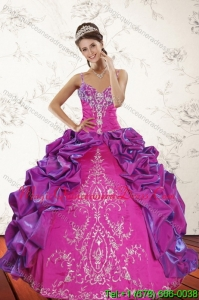 2015 Romantic Multi Color Quince Dresses with Embroidery