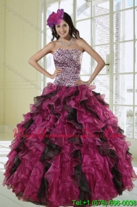 2015 Unique Strapless Dress for Quinceanera with Leopard Print
