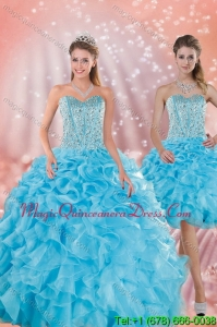 Hot Sale 2015 Baby Blue Quince Dresses with Beading and Ruffles