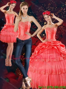 Hot Sale 2015 Strapless Quinceanera Dresses with Pick Ups and Beading