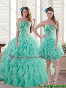 Hot Sale Aqua Blue Quince Dresses with Beading and Ruffles for 2015