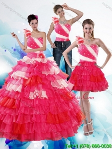 Hot Sale One Shoulder Ruffled Layers and Beading Multi Color Quinceanera Dresses for 2015