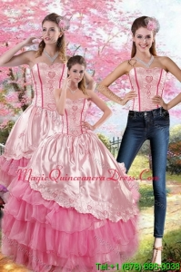 Hot Sale Pink Strapless 2015 Quinceanera Dresses with Embroidery and Ruffles