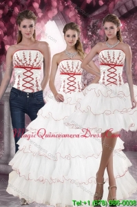 Hot Sale White Quince Dresses with Embroidery and Ruffled Layers for 2015