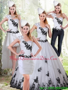Romantic White and Black Sweetheart 2015 Quinceanera Dress Appliques