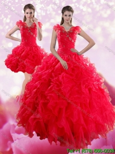 Sophisticated Red Sweetheart Dresses for Quince with Ruffles and Beading