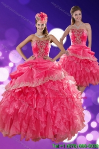The Super Hot Strapless Quince Dresses with Ruffles and Appliques